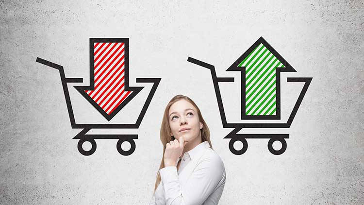 woman with shopping cart graphics