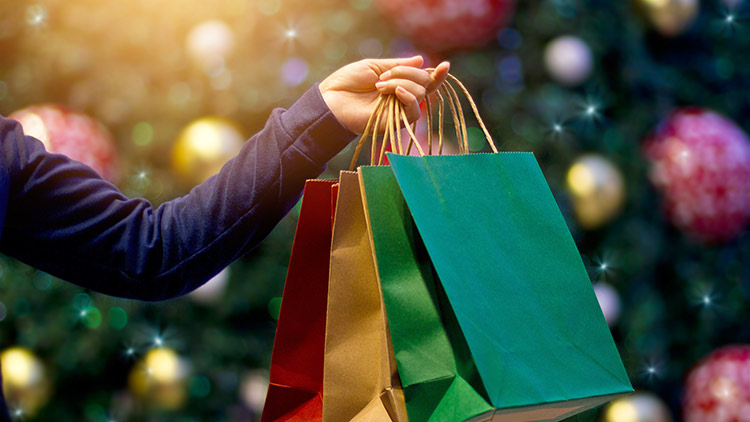 person holding holiday shopping bags