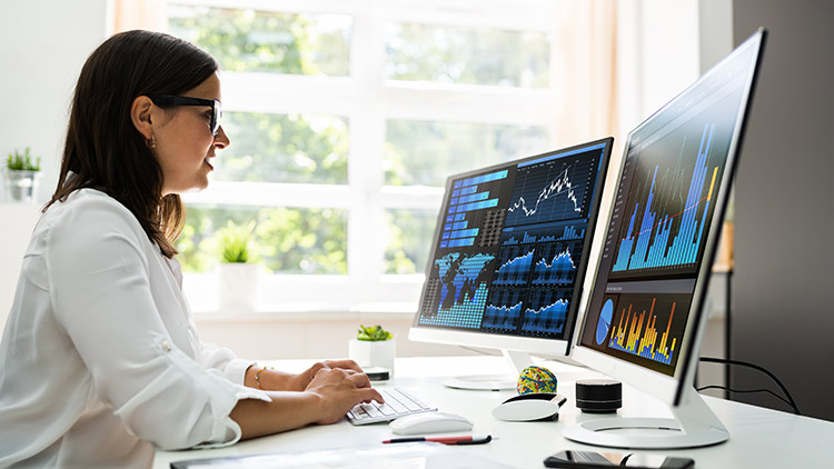 woman looking at business charts on computers