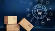 boxes with digital shopping cart graphics
